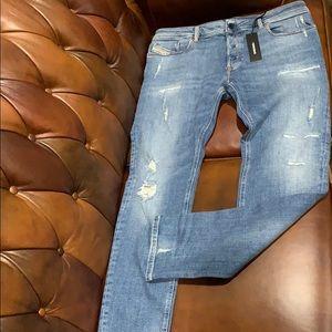 Diesel Sleenker slim-skinny distressed jeans NWT